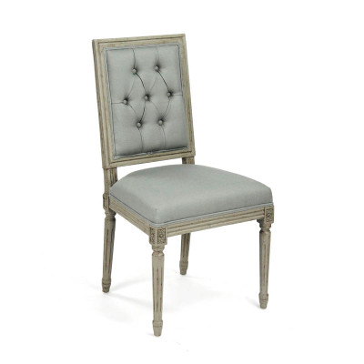 Tufted Louis Side Chair - Sage Linen and Birch