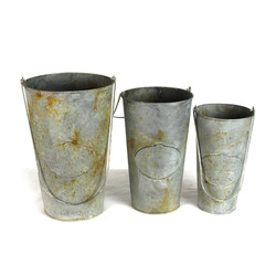 Metal Bucket, Set Of 3 - Tall