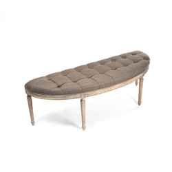 Louis Curve Bench - Aubergine Linen and Limed Grey Oak