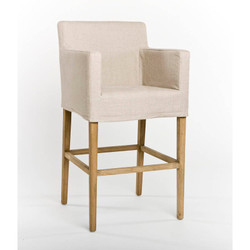 Avignon Slipcover Bar Stool - Natural Linen and Natural Oak