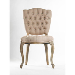 Piaf Side Chair - Hemp Linen and Limed Grey Oak