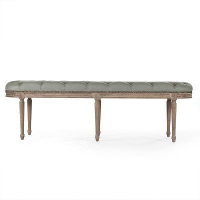 Michel Tufted Bench - Sage Linen and Limed Grey Oak