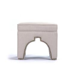Marnix Cubic Stool - Natural Linen