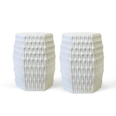 Burma Stool/Side Table, White
