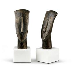 Delos Head Statue (Pair), Bronze