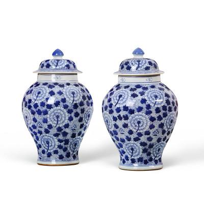 Flower Temple Jar, Blue & White