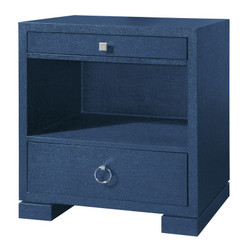 Frances 2-Drawer Side Table, Navy Blue