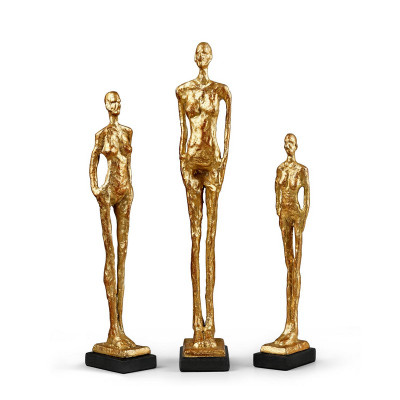 Miles Statues - Set Of 3 Statues, Gold