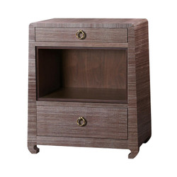 Ming 2-Drawer Side Table, Brown
