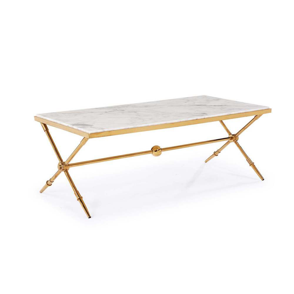Blink Home Hudson Marble Top Cocktail Table Antique Gold