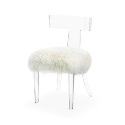 Tristan Klismos Chair - Ivory Sheep Skin