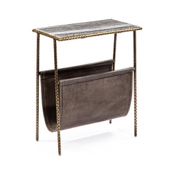 Strauss Magazine Table - Gray/ Brass