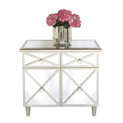 Claude Mirrored Crosshatch 2-Drawer Chest