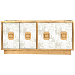 Ponti Antique Mirror 4-Door Entertainment Console With Gold Leaf Detailing