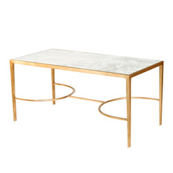 Gold Leaf Sabre Leg Coffee Table With Antique Mirror Top