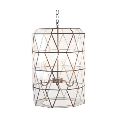 Moderna Large Faceted Glass Lantern With Candle Cluster