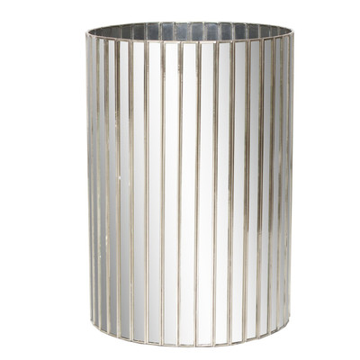 Round Faceted Antique Mirror Wastebasket With Silver Detailing