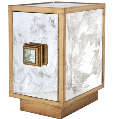 Savannah Antique Mirror And Gold Leaf One Door Side Table Cabinet