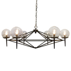 Rowan Black Powder Coated Chandelier With Hand Blown Glass Globes Fixture