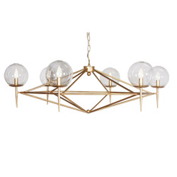 Rowan Gold Leaf Chandelier With Hand Blown Glass Globes Fixture