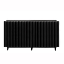 Odette Black Lacquer 4 Door Scalloped Front Cabinet