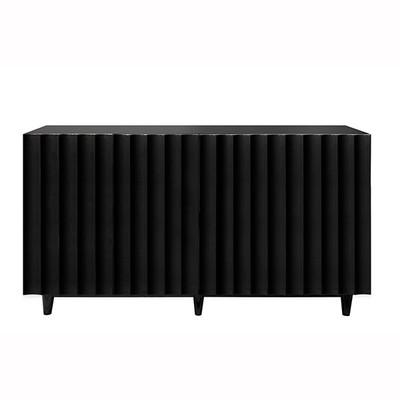 Odette Black Lacquer 4 Door Scalloped Front Cabinet