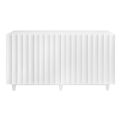 Odette White Lacquer 4 Door Scalloped Front Cabinet