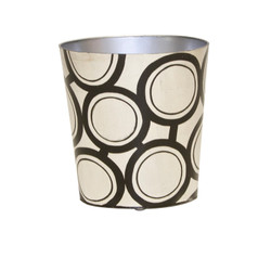 Oval Wastebasket Black And Silver Design