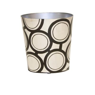 Oval Wastebasket Black And Silver Design