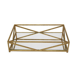 Gavin Iron Tray In Gold Leaf With Inset Mirror