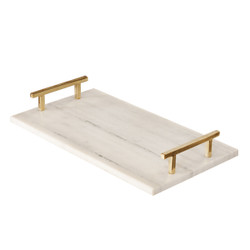 Lincoln White Marble Tray With Brass Handles