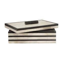 Concord Natural Bone Box With Black Resin Stripe