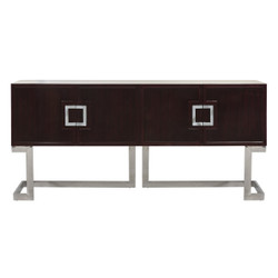 Braxton Rosewood Media Console With Stainless Steel Base & Square Handles
