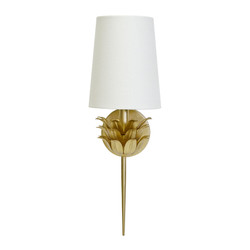 Delilah Gold Leaf One Arm Sconce With 3 Layer Leaf Motif & White Linen Shade