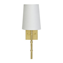Molly Gold Leaf Sconce With Bamboo Detail & White Linen Shade