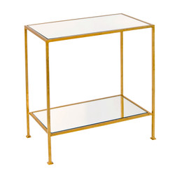 Plano 2-Tier Gold Leafed Rectangular Side Table With Plain Mirror Tops