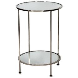 Chico 2 Tier Nickel Plated Side Table With Plain Mirror Tops