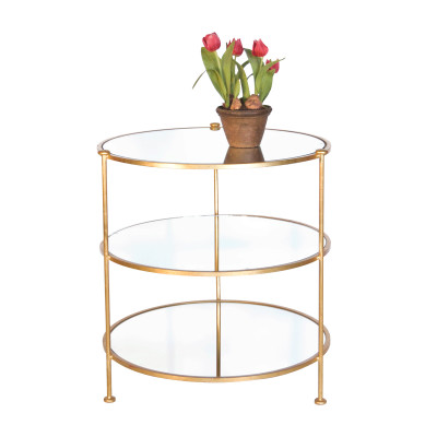 3-Tier Gold Leaf Table With Mirrored Shelves