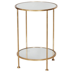 Chico 2 Tier Gold Leafed Side Table With Plain Mirror Tops
