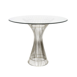 """Powell Polished Stainless Side Table 36"""" Dia Top"""