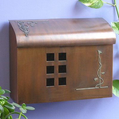 Ecco Arts & Crafts Style Mailbox- Rust Brown