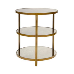 Audrey Bronzed 3 Tier Side Table With Antique Mirror Tops