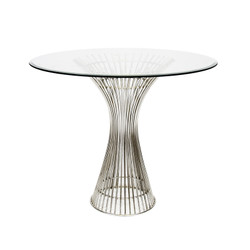 """Powell Polished Stainless Side Table 42"""" Dia Top"""