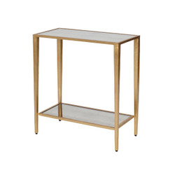 Joyce Two Tier Gold Leaf Rectangular Table With Antique Mirror Shelves