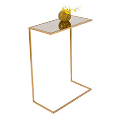 Rico Gold Leafed Cigar Table With Antique Mirror Top