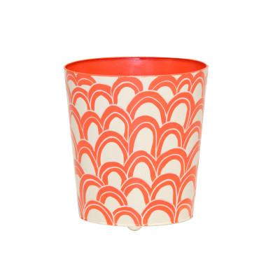Oval Wastebasket Orange And Cream