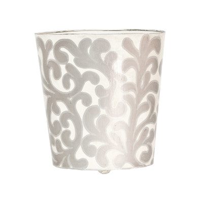 Oval Wastebasket Silver And Cream