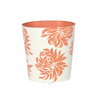 Oval Wastebasket Orange Floral