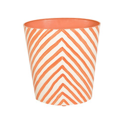Oval Wastbasket Cream And Orange Zebra