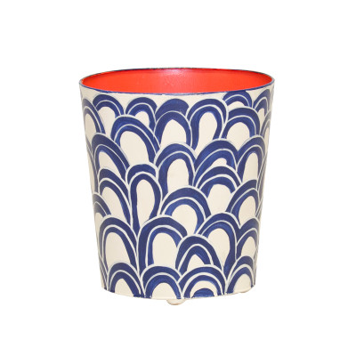 Oval Wastebasket Navy Cream And Orange